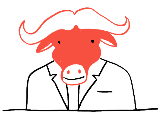 An image of a business gnu